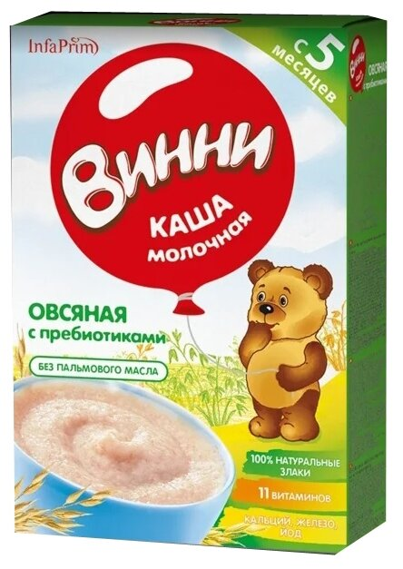 Каша Винни молочная овсяная с пребиотиками (с 5 месяцев) 220 г