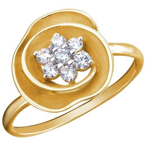 Эстет Кольцо с 7 фианитами из жёлтого золота 01К1312465Р, размер 18