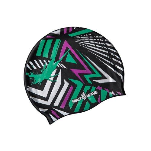 Шапочка для плавания MAD WAVE Grafic белый/зеленый/фиолетовый шапочка для плавания indigo объемный рисунок розы цвет фиолетовый