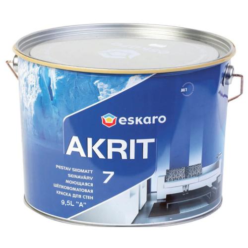 Краска акриловая Eskaro Akrit 7 влагостойкая полуматовая белый 9.5 л
