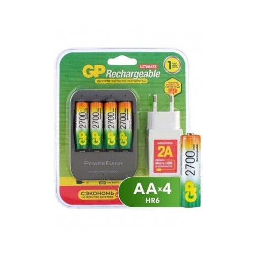 Фото - Комплект из зарядного устройства GP и 4 аккумуляторов АА 2700 мАч в комплекте с сетевым адаптером и micro USB проводом аккумуляторы gp 1000 мач в комплекте с зарядным устройством адаптером 1а и кабелем
