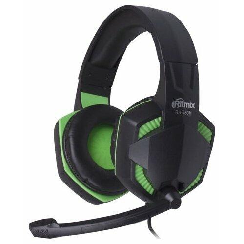 Компьютерная гарнитура Ritmix RH-560M черный/зеленый гарнитура ritmix rh 126m черный