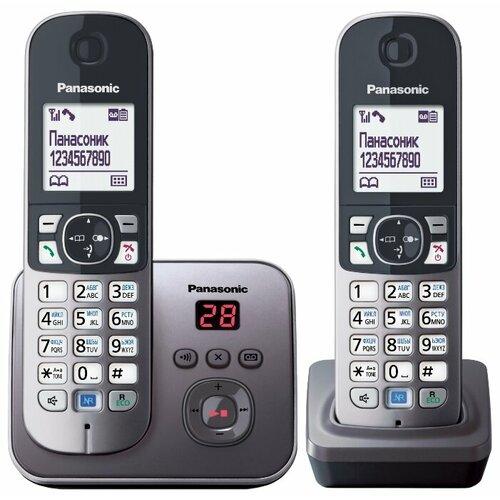 Радиотелефон Panasonic KX-TG6822 серый металлик