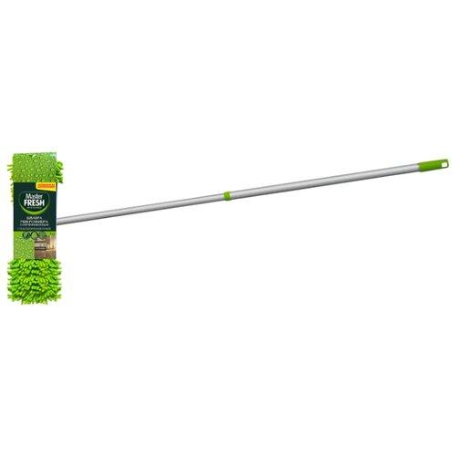 Фото - Швабра Master FRESH флеттер супер-впитывающая с телескоп-ручкой и насадкой из микрофибры с длинным ворсом, зеленый метла park 124см с телескоп алюм ручкой