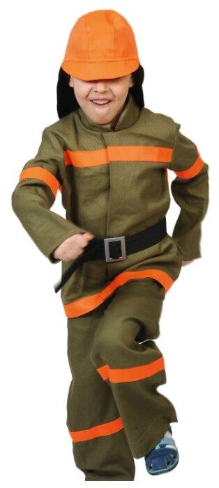 Карнавальный костюм для детей Карнавалофф Пожарный текстиль детский, S (116-122 см)