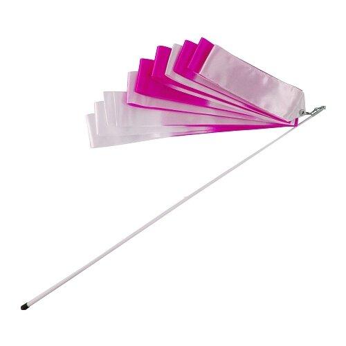 Фото - Палочка с лентой для художественной гимнастики Larsen A236 белый/розовый палочка с лентой для художественной гимнастики larsen ab220 синий