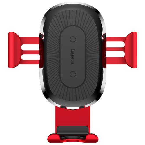 Держатель с беспроводной зарядкой Baseus Wireless Charger Gravity Car Mount красный