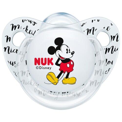 Купить Пустышка силиконовая ортодонтическая NUK Trendline Disney Mickey Mouse 0-6 м (1 шт) белый, Пустышки и аксессуары