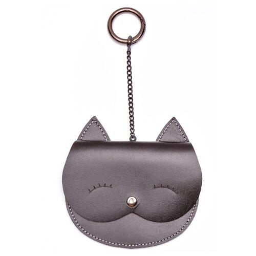 Монетница GewGaw Кошка Тринити на цепочке, натуральная кожа черный