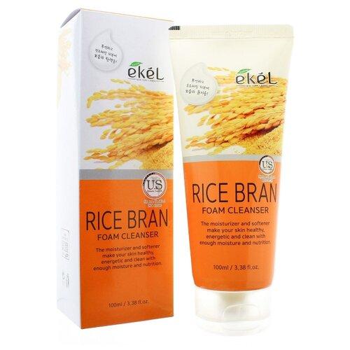 Ekel Foam Cleanser 100 мл Rice Bran Пенка для умывания с рисовыми отрубями jigott гель premium facial rice bran peeling gel мягкий с рисовыми отрубями 180 мл