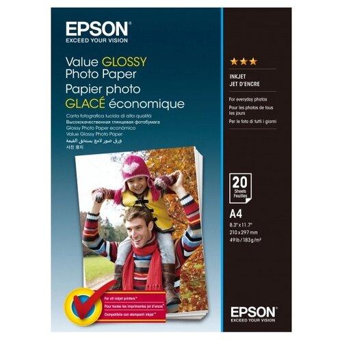 Фото - Бумага Epson A4 Value Glossy Photo Paper 183 г/м² 20 лист. бумага epson a4 premium glossy photo paper c13s041624 255г м2 50 лист белый