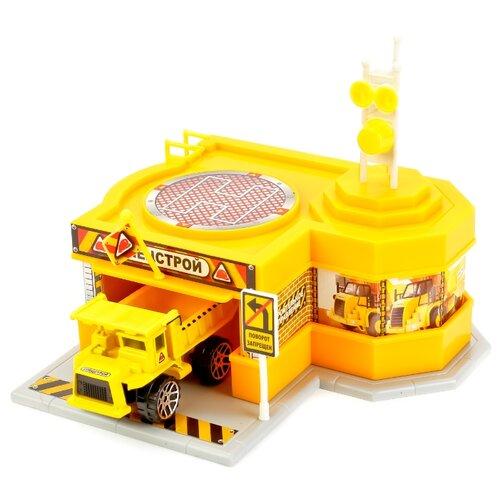 Купить ТЕХНОПАРК ГорСтрой желтый/оранжевый/черный/серый, Детские парковки и гаражи