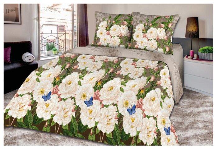 Постельное белье евростандарт Текстильная лавка Белые цветы 70 x 70 поплин серый/белый/зеленый