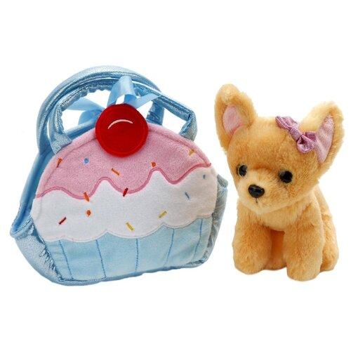 Купить Мягкая игрушка Играем вместе Собака чихуахуа в голубой сумочке в виде кекса 19 см, Мягкие игрушки