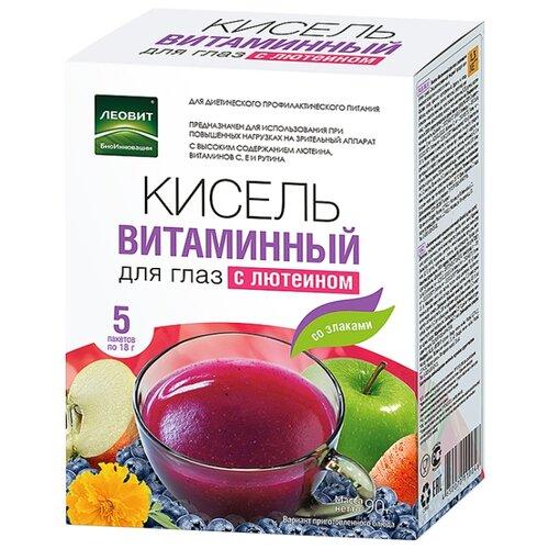 Кисель ЛЕОВИТ Витаминный для глаз, с лютеином 5 шт. по 18 г чай лимонник для тонуса 25 пакетов по 2 г упаковка 50 г худеем за неделю леовит