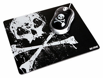 Мышь ACME Mini Mouse + Mouse pad (skull) MN06 USB