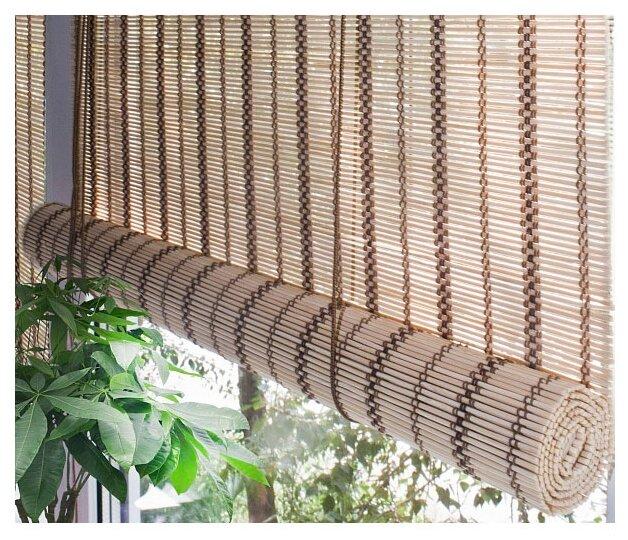 Рулонная штора Эскар бамбуковые (золотой беж)