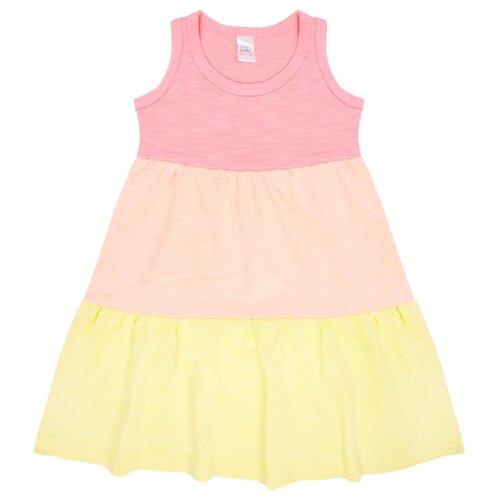 Платье Веселый Малыш размер 116, розовый/персиковый/желтый