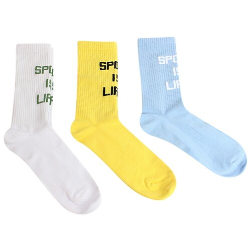 Носки Dzen DS-3, 3 пары, размер 29-31, белый/желтый/голубой