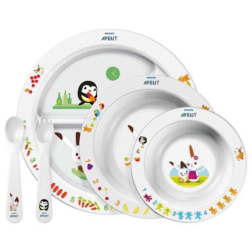 Купить Комплект посуды Philips AVENT SCF716/00 пингвин и кролик, Посуда