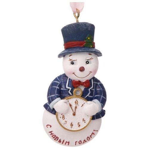 Елочная игрушка Magic Time Снеговик с часами (77795) белый/синий