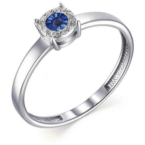 АЛЬКОР Кольцо с бриллиантами и сапфиром из белого золота 13395-202, размер 18 алькор кольцо с сапфиром и бриллиантами из белого золота 13288 202 размер 18 5
