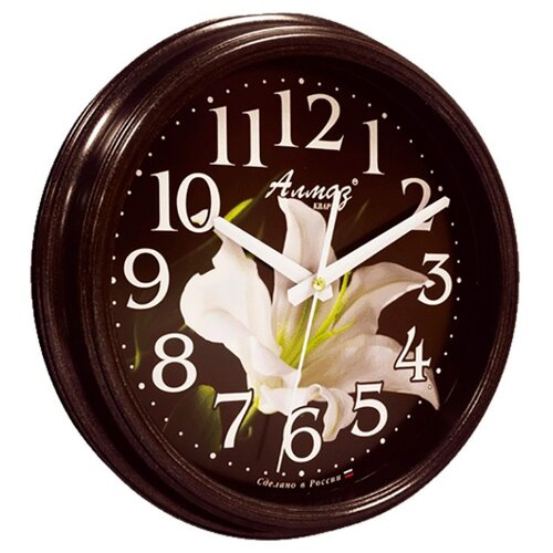 цена на Часы настенные кварцевые Алмаз A56 черный