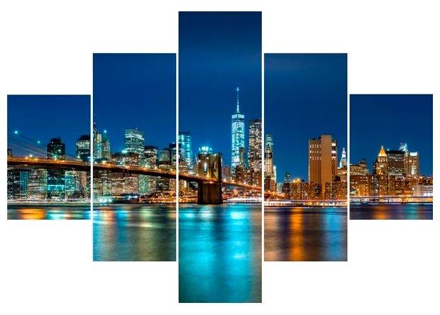 Модульная картина Ekoramka Манхеттен, мосты 100х70 см