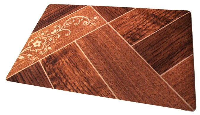 Придверный коврик RemiLing Паркет (принт), размер: 0.9х0.6 м, коричневый