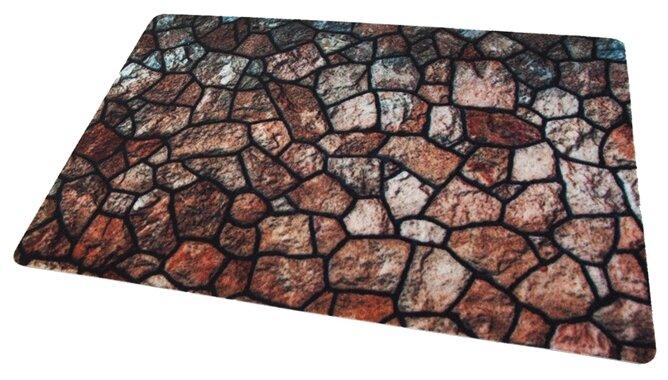 Придверный коврик RemiLing Мозаика (принт), размер: 0.9х0.6 м, коричневый/черный