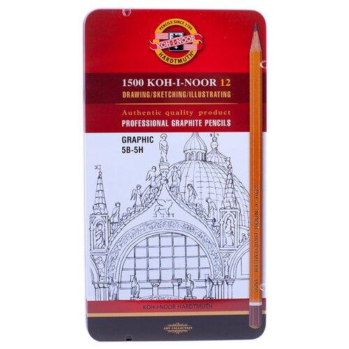 Купить KOH-I-NOOR Набор чернографитных карандашей 1500 Graphic, 12 штук 5B-5H (1502012009PLRU), Карандаши