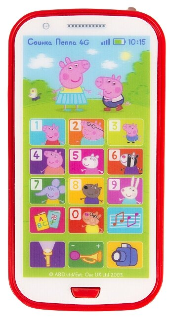 Интерактивная развивающая игрушка РОСМЭН Игрушечный телефон Свинка Пеппа красный