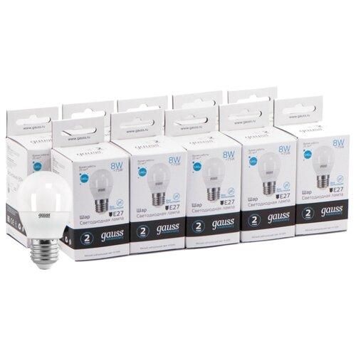 Упаковка светодиодных ламп 10 шт gauss 53228, E27, 8Вт упаковка светодиодных ламп 10 шт gauss 33228 e27 c37 8вт