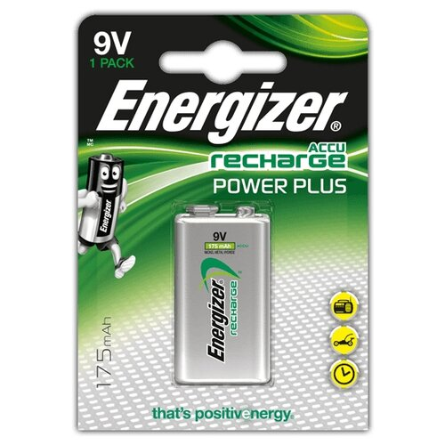 Фото - Аккумулятор Ni-Mh 175 мА·ч Energizer Accu Recharge Power Plus 9V Крона 1 шт блистер аккумулятор ni mh 2600 ма·ч varta recharge accu power 2600 aa 4 шт блистер