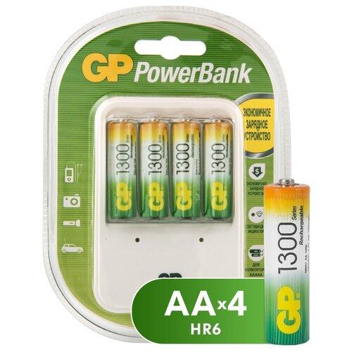 Фото - Аккумулятор Ni-Mh 1300 мА·ч GP Rechargeable 1300 Series AA + Зарядное устройство PowerBank, 4 шт. gp gpu811 и 4 аккум aa hr6 2700mah адаптер gpu811gs270aahc 2cr4