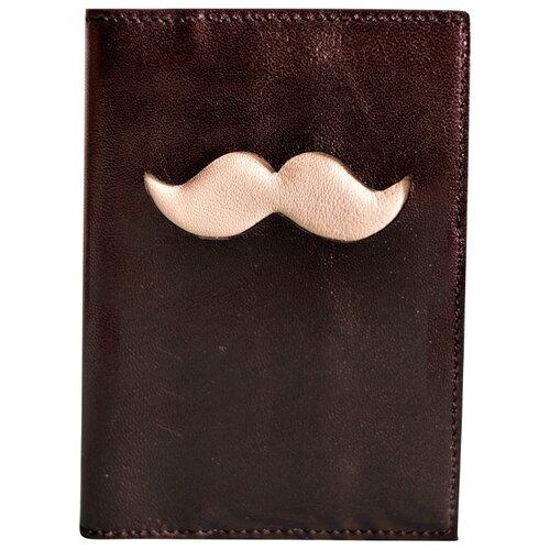Обложка для паспорта GewGaw Усы, черный-бежевый