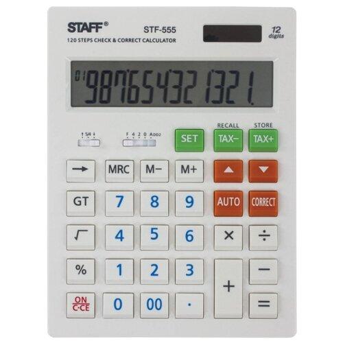 Калькулятор бухгалтерский STAFF STF-555 белый ручка корректор staff 7 мл