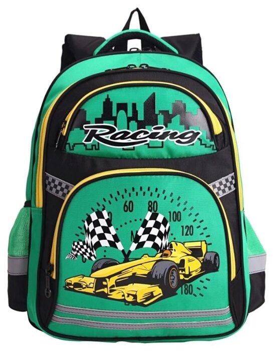 Рюкзак школьный для мальчика Grizzly RB-860-5, материал полиэстер 1184, цвет черный - зеленый