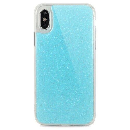 Противоударный силиконовый чехол для ( ) iPhone X / XS Гель с блестками / (Голубой)