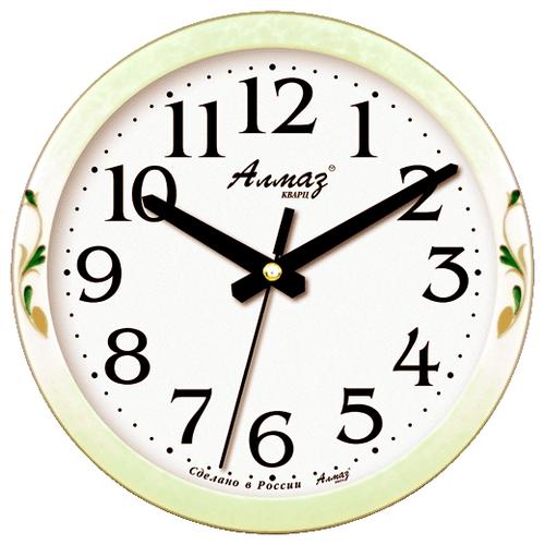 Часы настенные кварцевые Алмаз E27 салатовый/белый