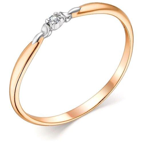 АЛЬКОР Кольцо с 1 бриллиантом из красного золота 13802-100, размер 16 фото