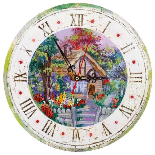 PANNA Набор для вышивания Живая картина. Часы с домиком 25.5 х 25.5 см (ЖК-2107)
