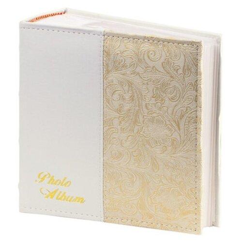 Фотоальбом BRAUBERG обложка под кожу, бокс (390681/391118/391117), 300 фото, для формата 10 х 15, белый/золотой