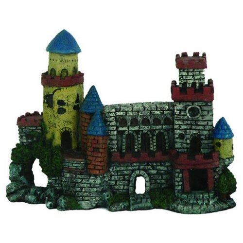 Фигурка для аквариума Prime Замок с двумя башнями PR-CH1017 27х10х20 см серый/красный/синий