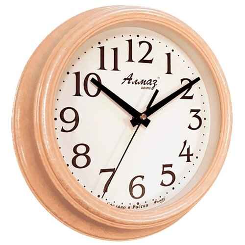 Часы настенные кварцевые Алмаз C04-C10 бежевый/белый часы настенные кварцевые алмаз c04 c10 бежевый с рисунком белый