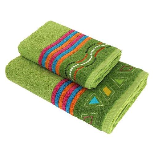 Wellness Полотенце Соната для рук 50х100 см зеленый/орнаментПолотенца<br>