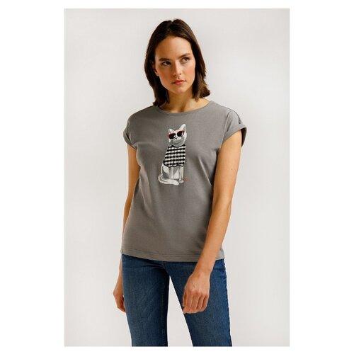 Футболка FiNN FLARE B20-32042M размер 2XL, серый меланж футболка finn flare b20 32068m размер 2xl серый меланж
