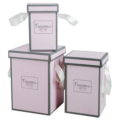 Фото - Набор подарочных коробок Дарите счастье Счастье ждёт тебя, 3 шт. розовый набор подарочных коробок дарите счастье нежность 3 шт розовый