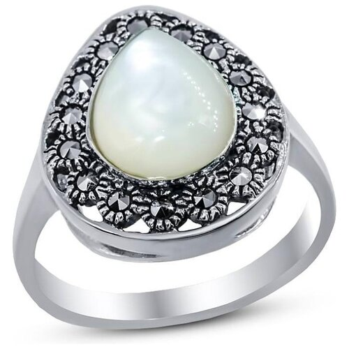Silver WINGS Кольцо с перламутром и марказитами из серебра 210026a-39-257, размер 18 silver wings кольцо с марказитами и бирюзой из серебра 210011 39 203 размер 17