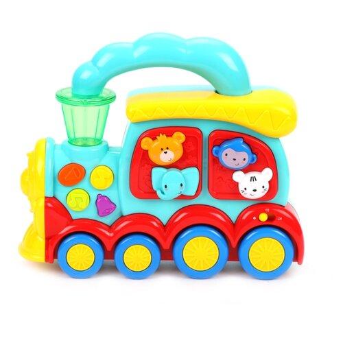 Развивающая игрушка Жирафики Веселый паровозик голубой/красный/желтый